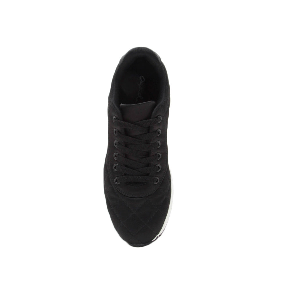 Tweed-02 Black Quilted Platform Lace Up Sneaker