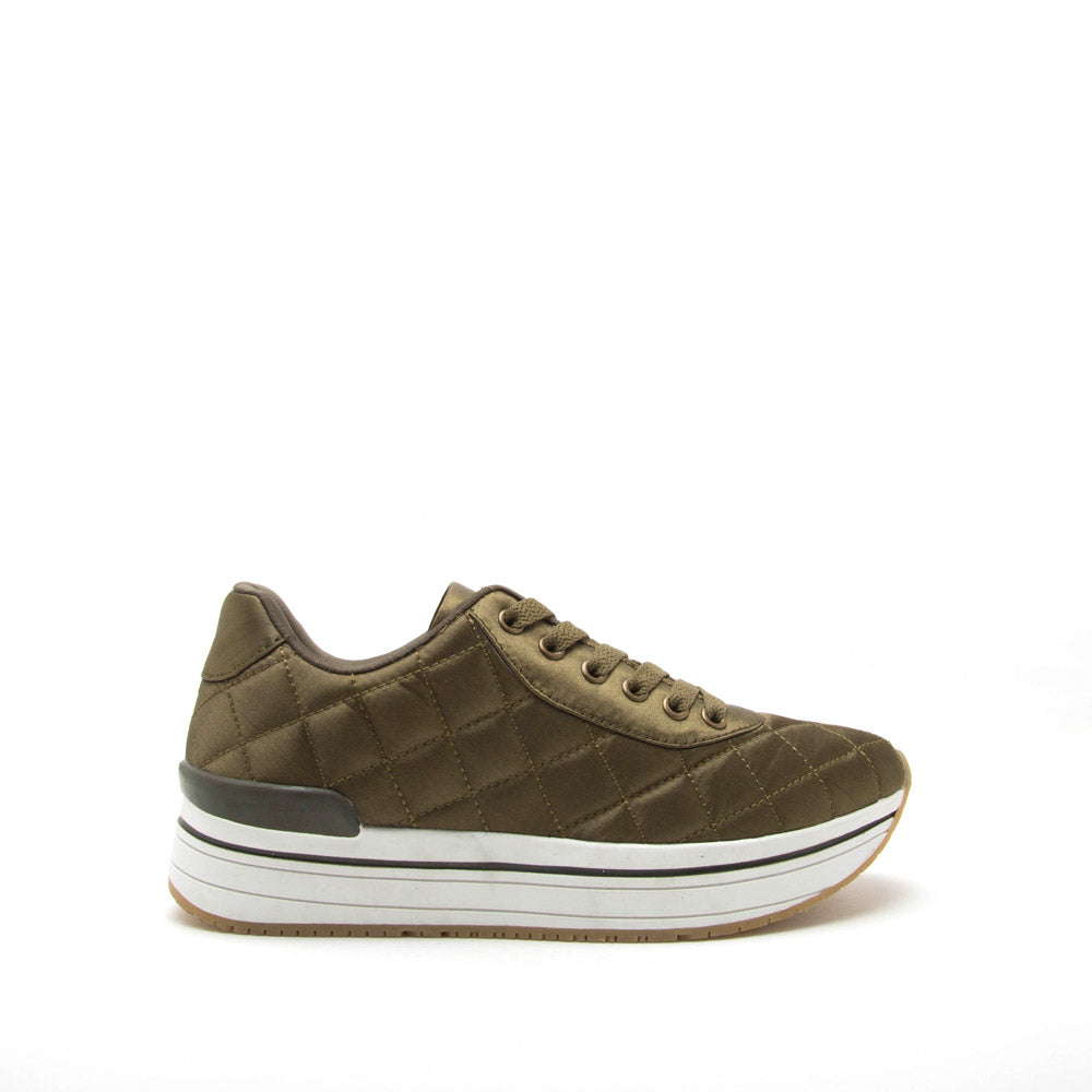 Tweed-02 Khaki Quilted Platform Lace Up Sneaker