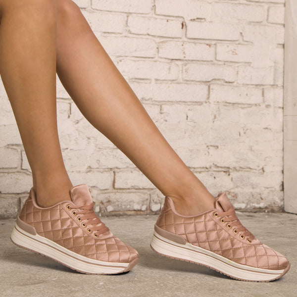 Tweed-02 Mauve Quilted Platform Lace Up Sneaker