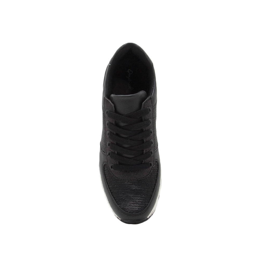 Tweed-04 Black Sequin Lace Up Sneaker