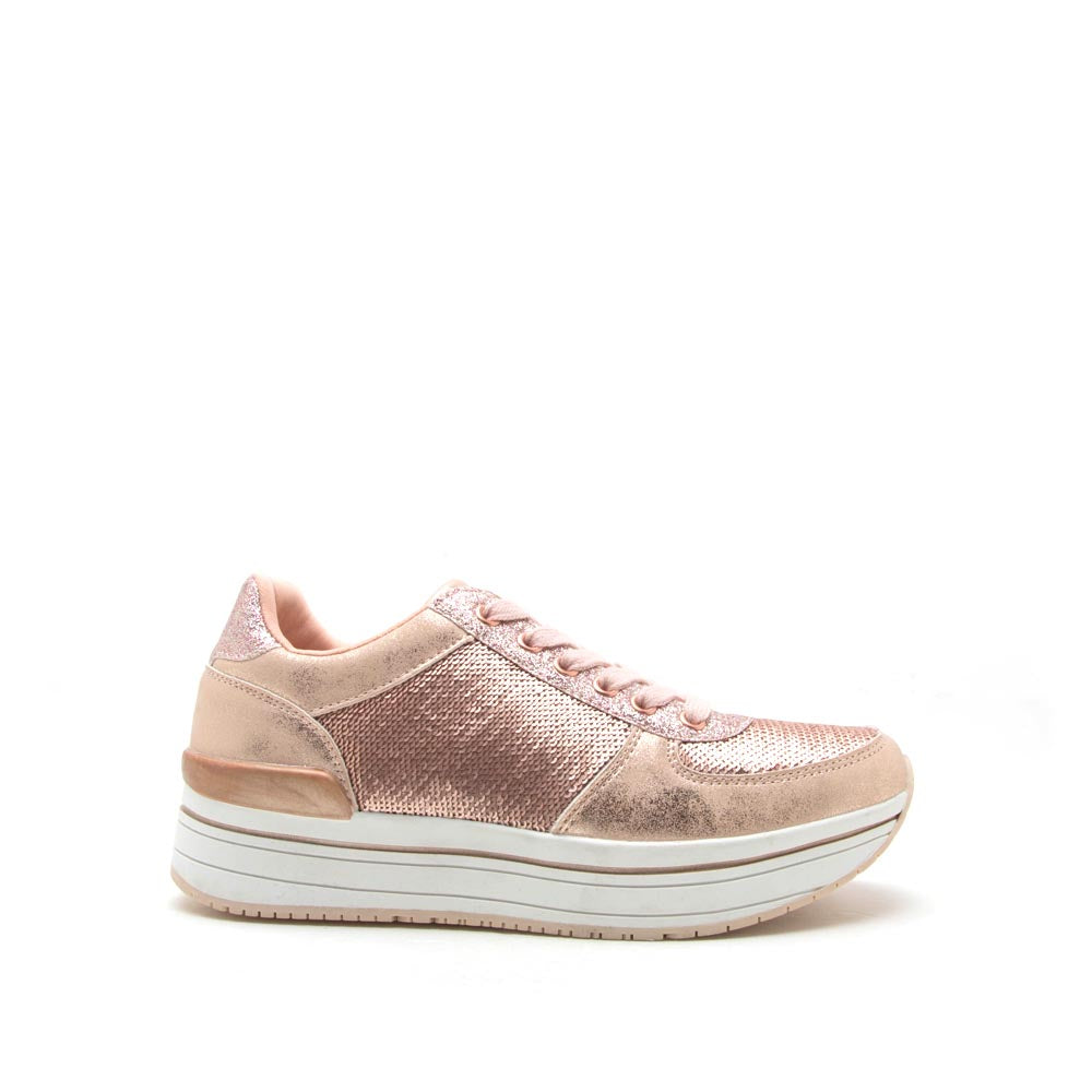 Tweed-04 Rose Gold Sequin Lace Up Sneaker