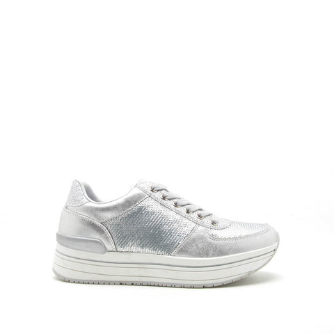 Tweed-04 Silver Sequin Lace Up Sneaker