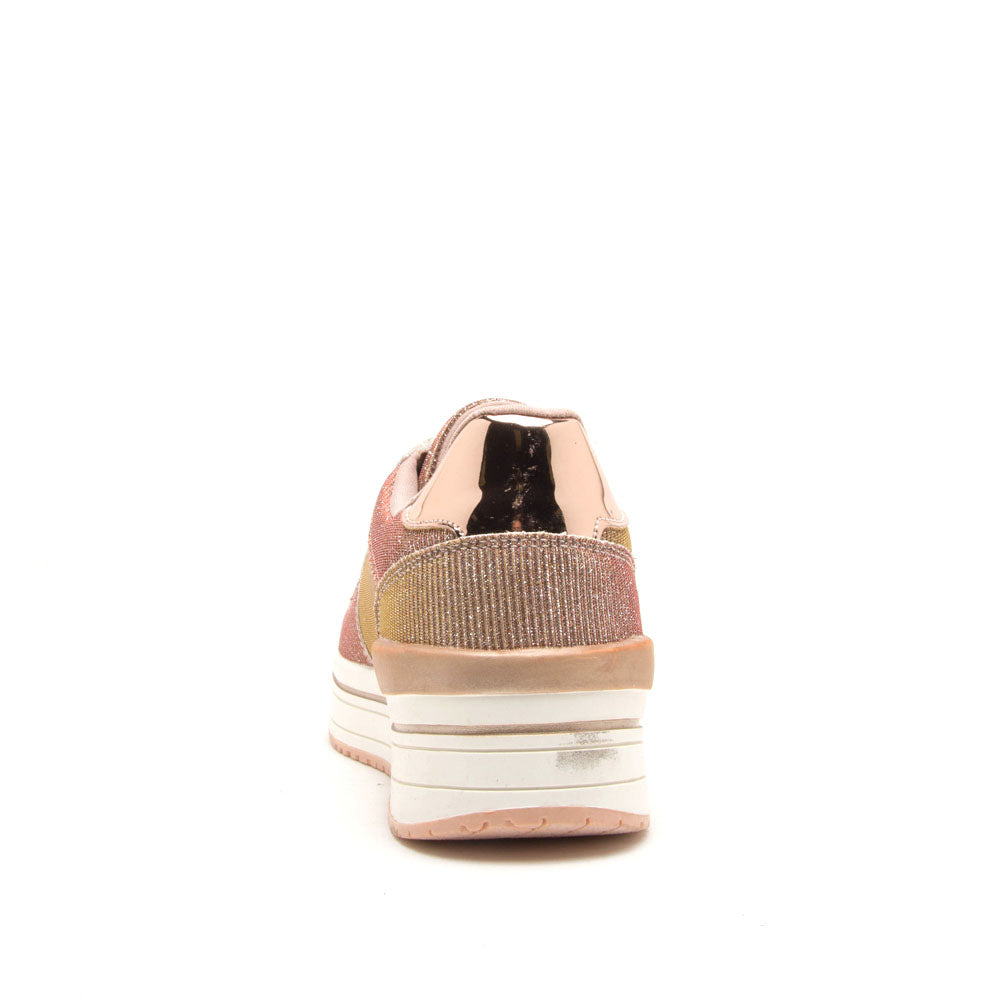 Tweed-05 Rose Gold Glitter Lace Up Sneaker