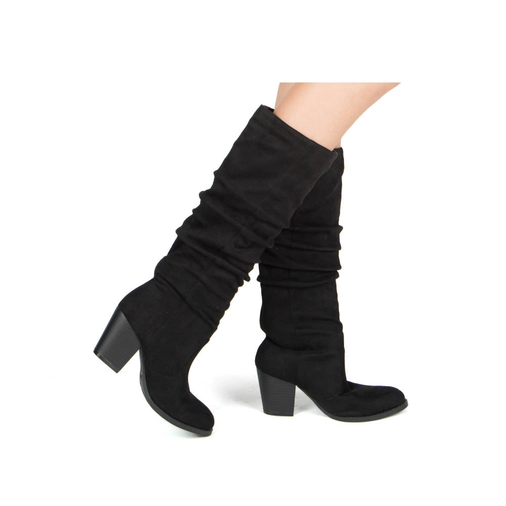 Tyson-33XX Black Knee High Ruched Boots