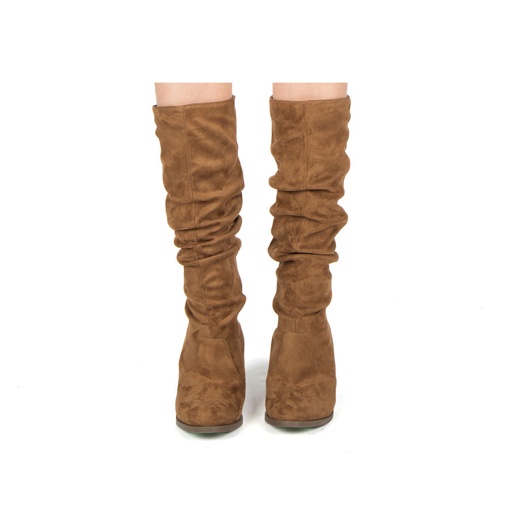 Tyson-33XX Coffee Knee High Ruched Boots