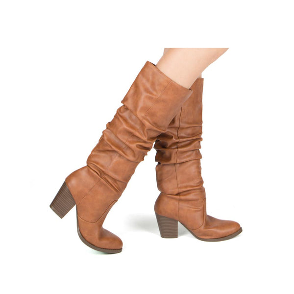 Tyson-33XX Rust Knee High Ruched Boots