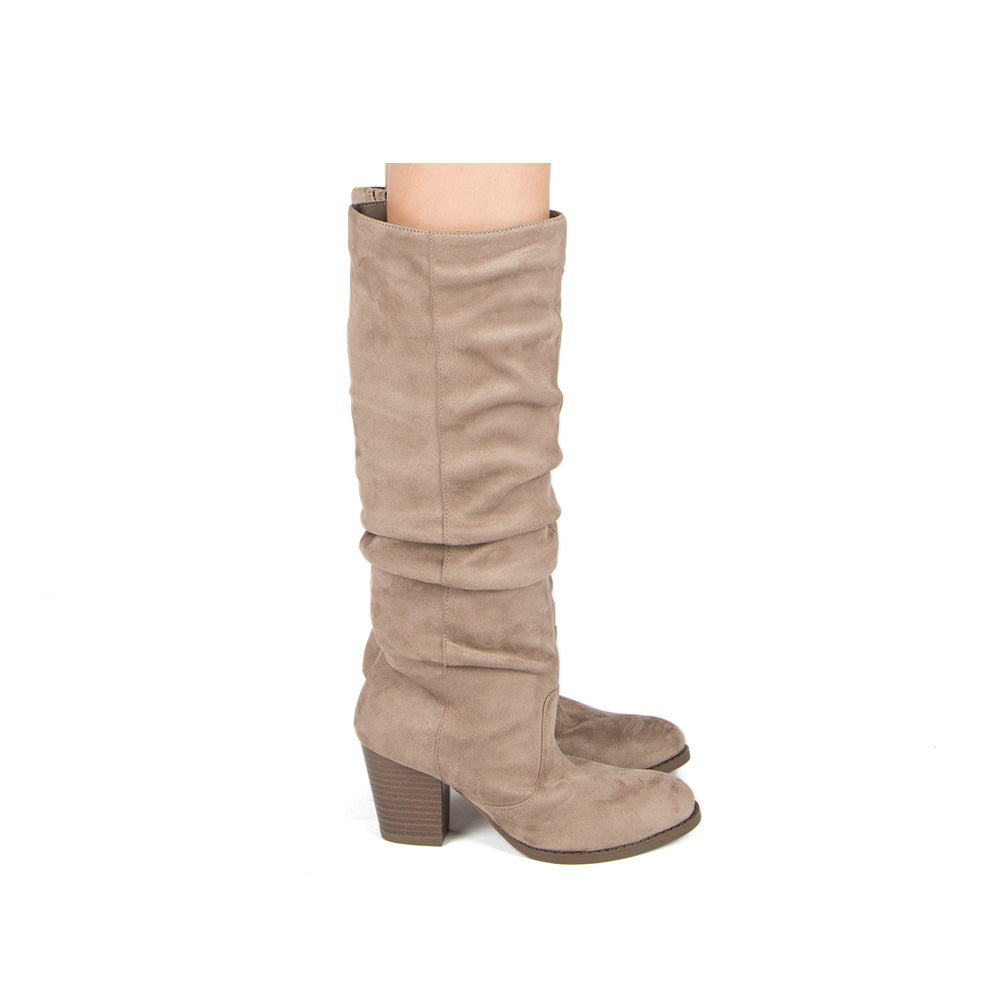 Tyson-33XX Taupe Knee High Ruched Boots