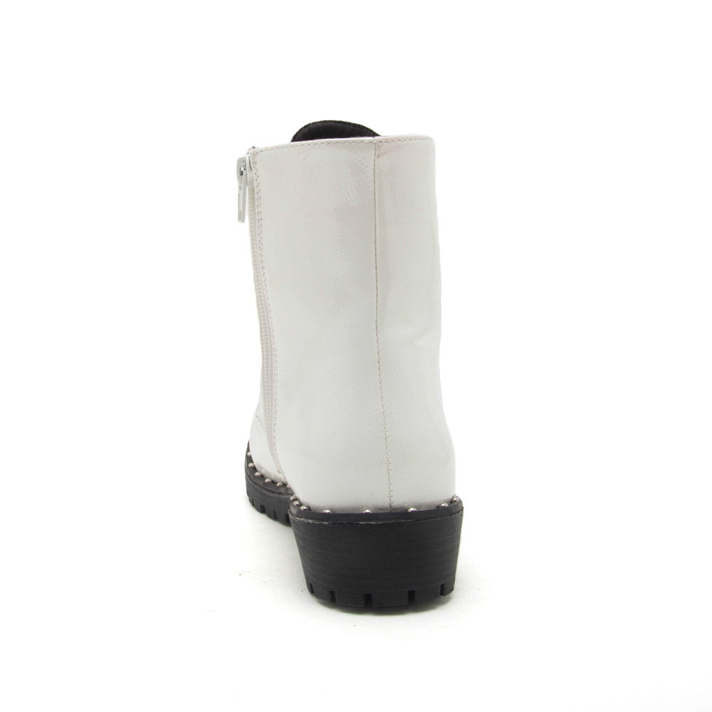 Valora-01 White Crinkled Combat Boot