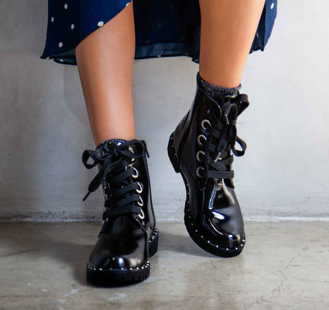 Valora-01 Black Crinkled Combat Boot