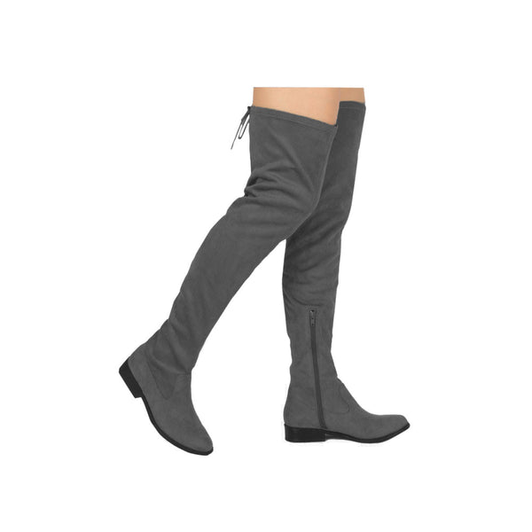Vinci-49XX Charcoal Over The Knee Flat Boot
