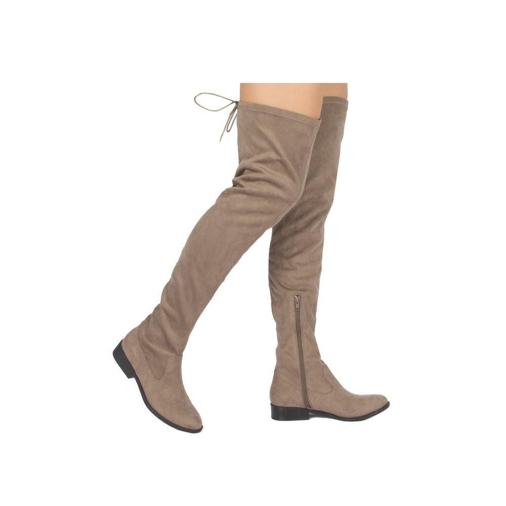 Vinci-49XX Taupe Over The Knee Flat Boot