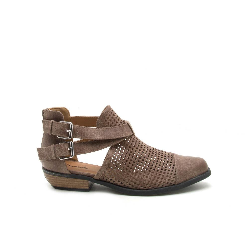 Vino-07 Dark Taupe Perforated Double Buckle Bootie