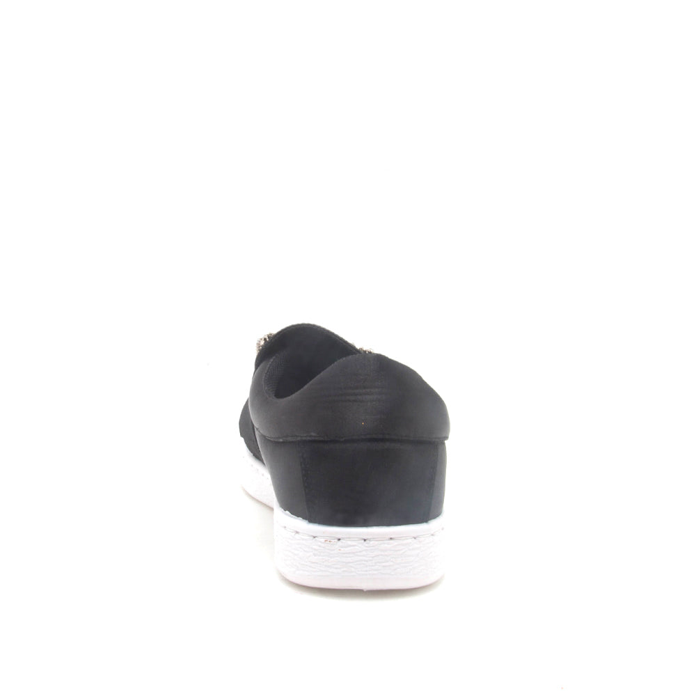 Walk-01A Black Satin Embellished Sneaker