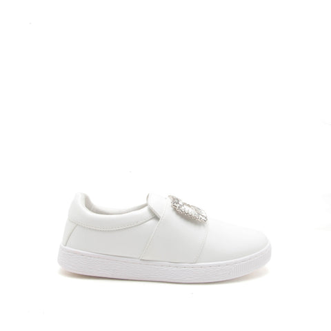 Walk-01A White Embellished Sneaker