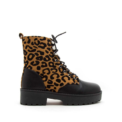 Warfare-04A Camel Black Leopard Lace Up Booties