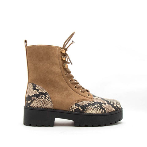 Warfare-04A Taupe Lace Up Booties