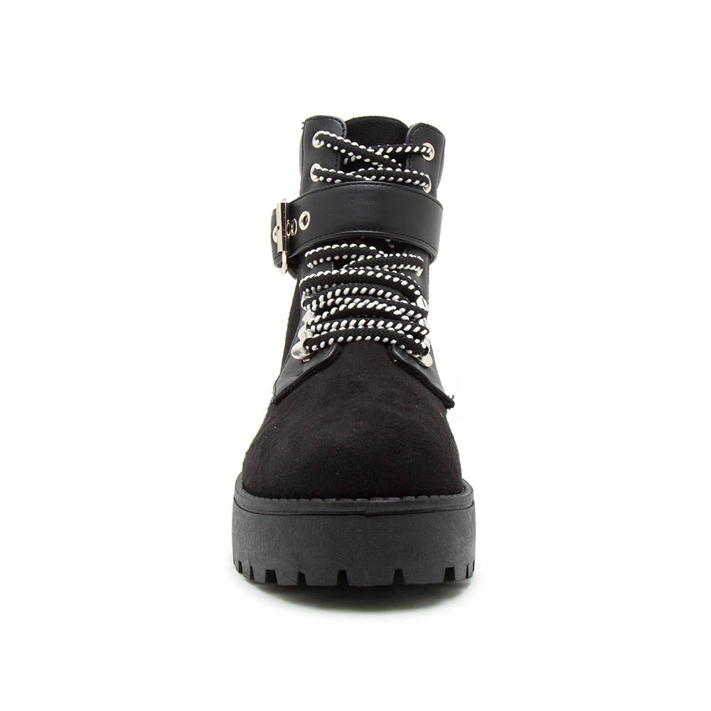 Warfare-09A Black Lace Up Booties