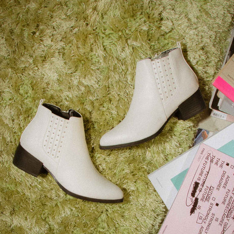 Wasco-29X White Studded Bootie