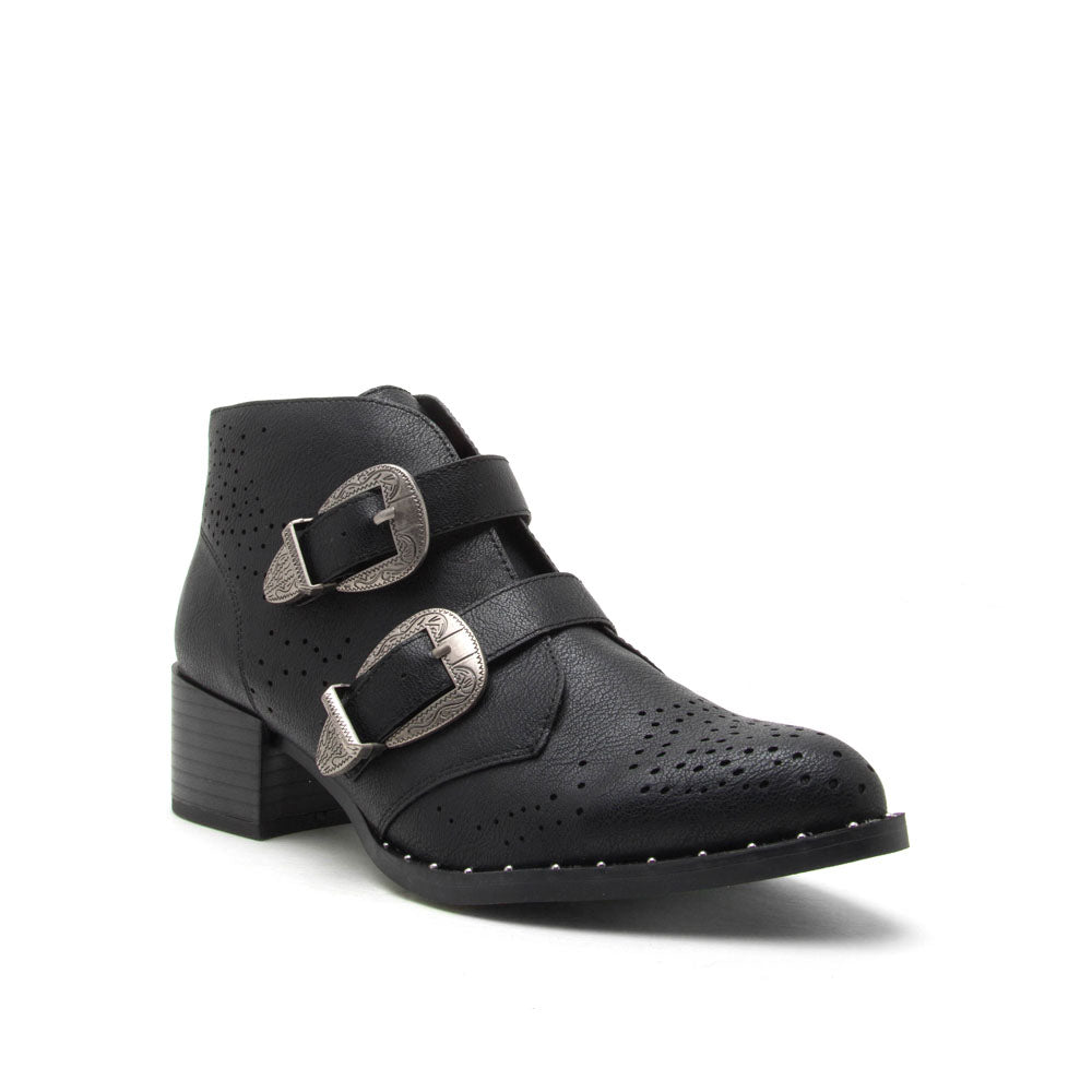 Wasco-37A Black Studded Western Bootie