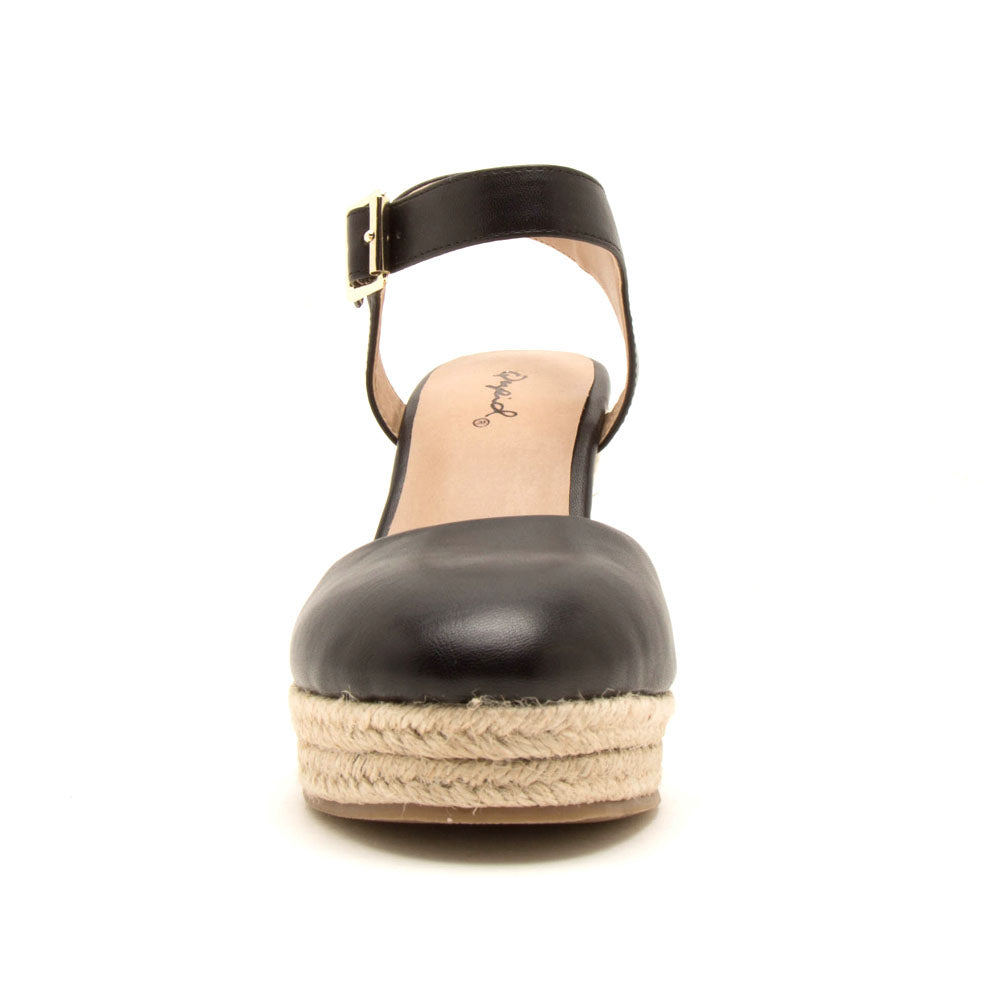 Wawa-02 Black Closed Toe Wedge Sandals