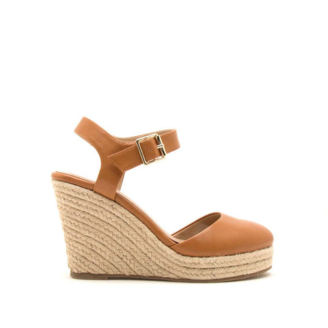 Wawa-02 Camel Closed Toe Wedge Sandals