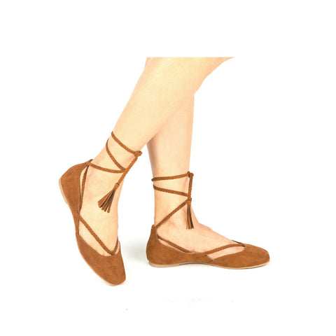 WEBB-04X Chestnut Braided Lace Ballerina Flat