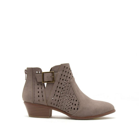 Weekend-07 Dark Taupe Perforated Buckle Bootie