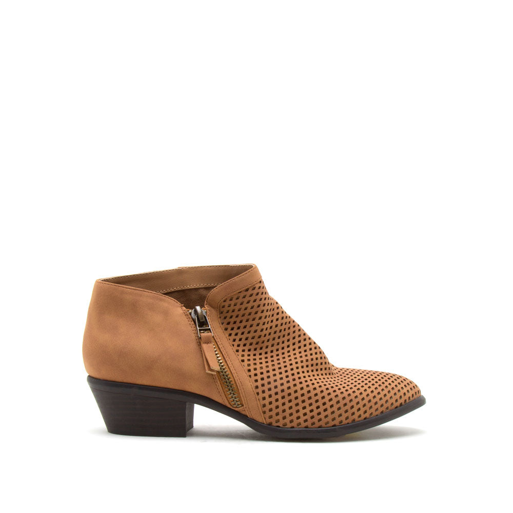 Weekend-10 Camel Perforated Bootie