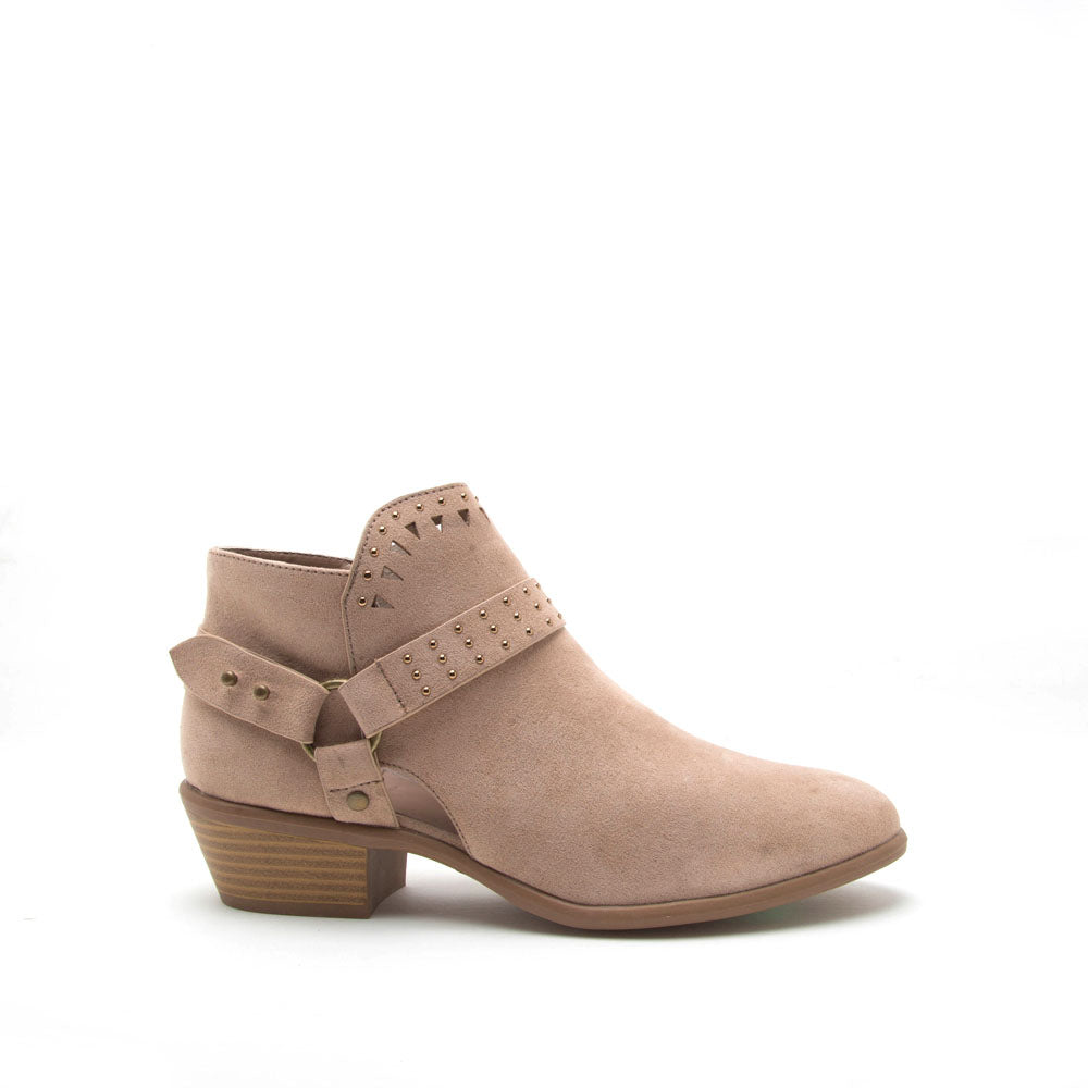 Weekend-25X Warm Taupe Strappy Studded Bootie