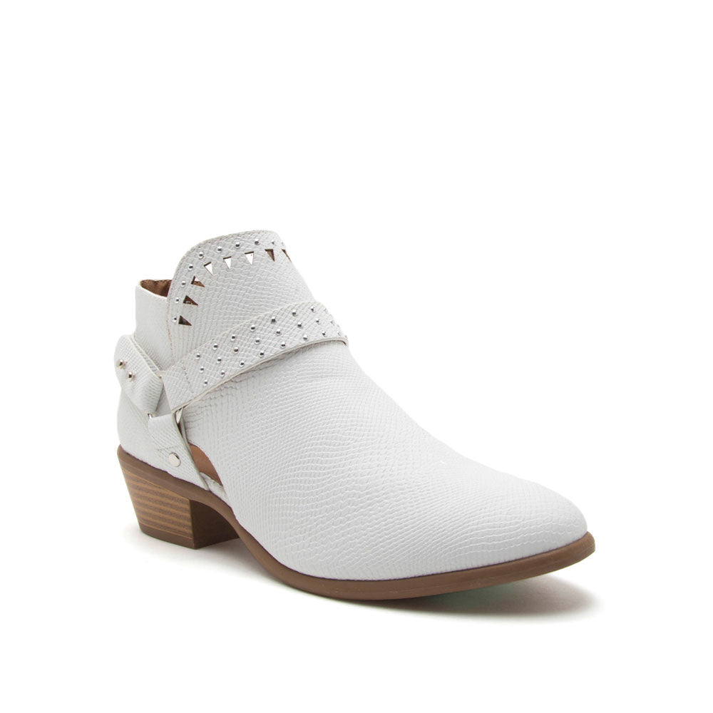 Weekend-25X White Snake Strappy Studded Bootie