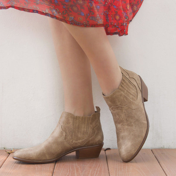 Weekend-35 Taupe Distressed Bootie