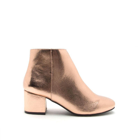 Wenona-01 Rose Gold Crinkle Metallic Ankle Booties