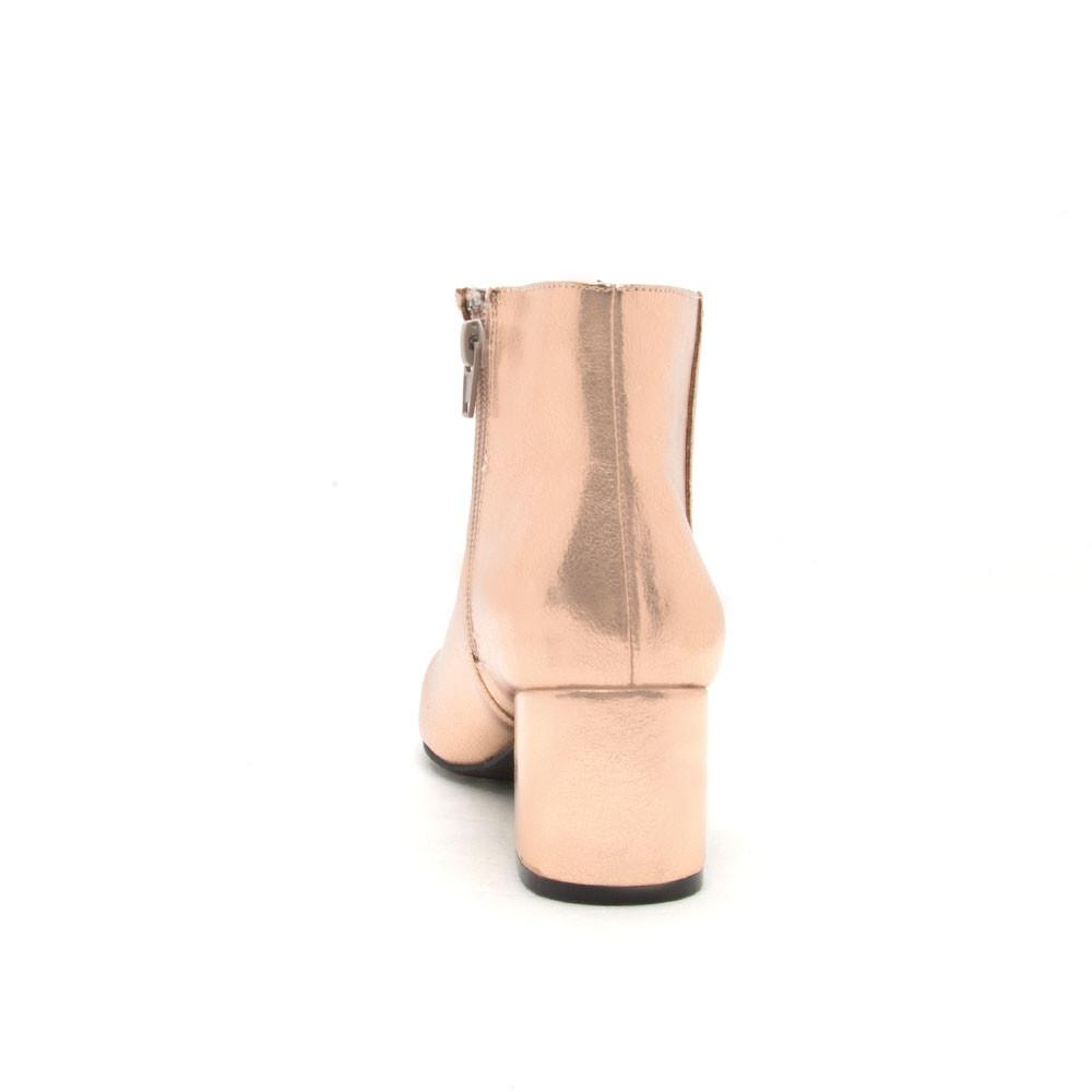 Wenona-01 Rose Gold Metallic Ankle Booties