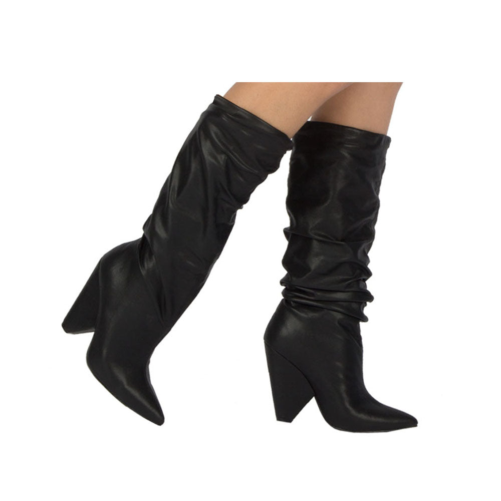 Wiley-01 Black Slouchy Boot
