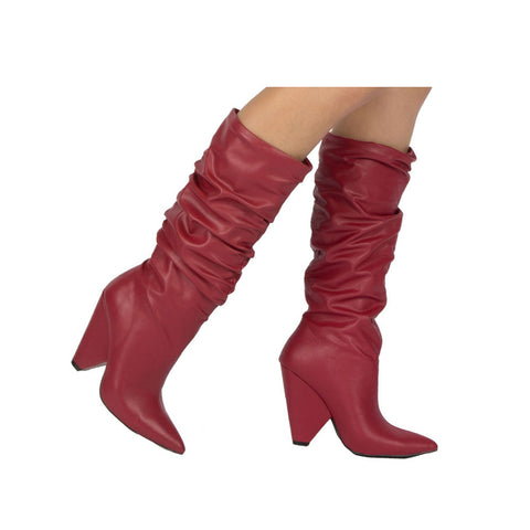 Wiley-01 Red Slouchy Boot