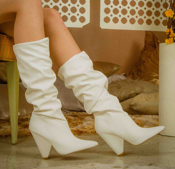 Wiley-01 White Slouchy Boot