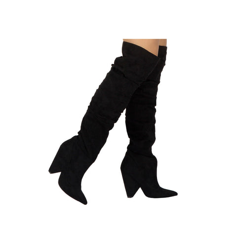Wiley-07 Black Over The Knee Slouchy Boot