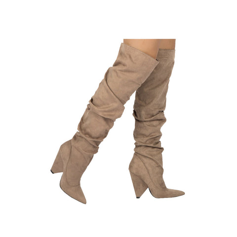 Wiley-07 Taupe Over The Knee Slouchy Boot
