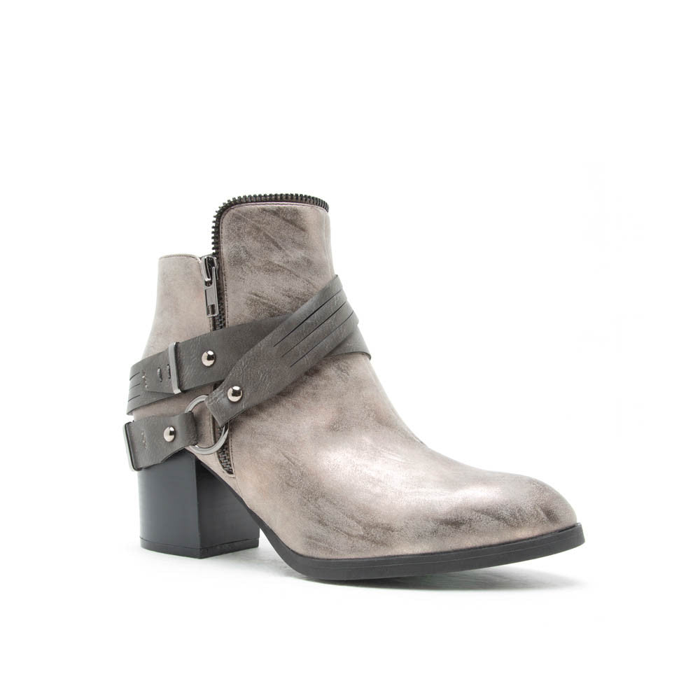 WILSON-15X Pewter Distressed Leather Zip Bootie