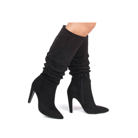 Wink-01 Black Slouchy Boot