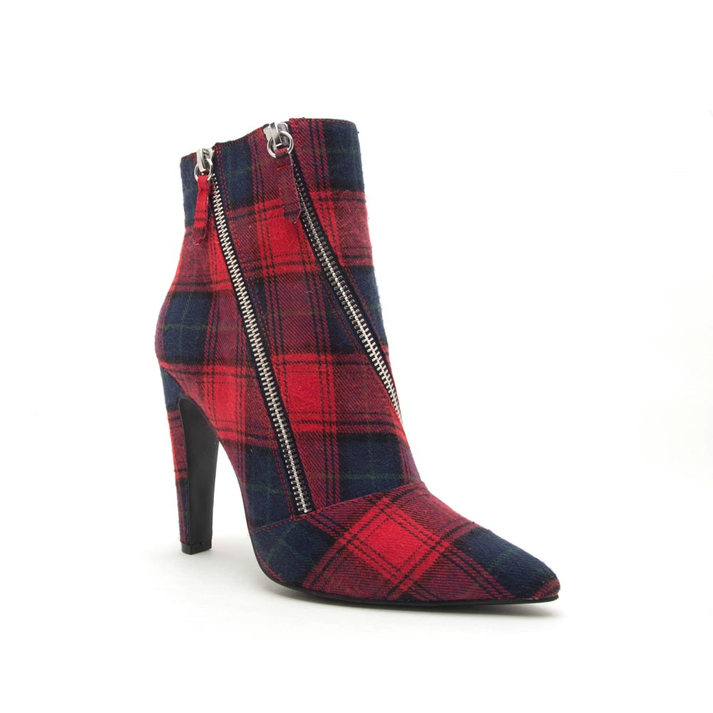 Wink-09 Red Multi Double Zipper On Bootie