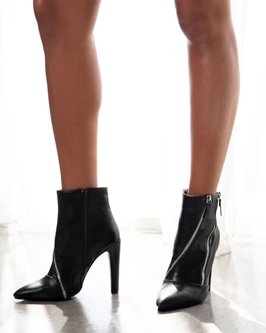 Wink-09 Black Double Zipper On Bootie