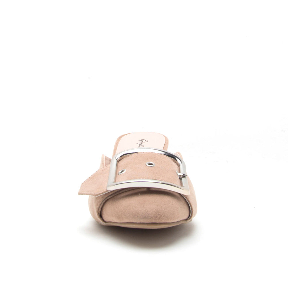 Wulff-03 Warm Taupe Buckle On Mule Sandal
