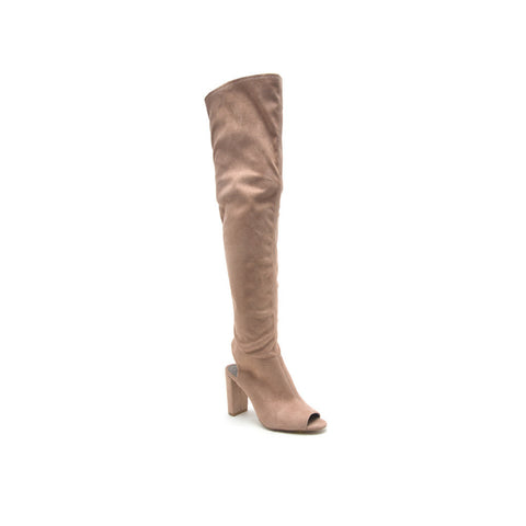 YORK-22 Taupe Over-The-Knee Peep Toe Boot