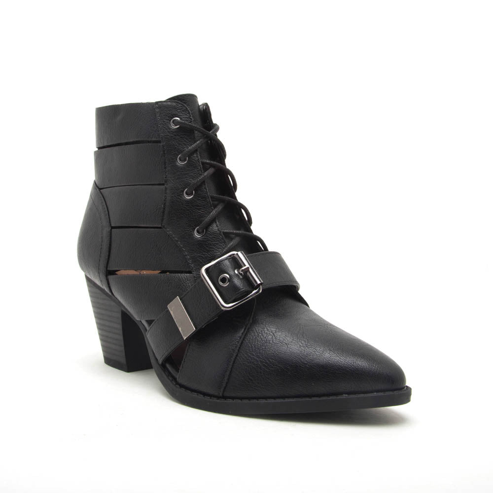 Zane-20X Black Strappy Lace Up Booties