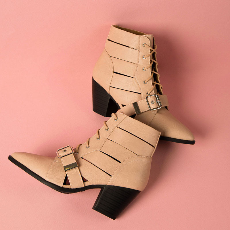 Zane-20X Nude Strappy Lace Up Booties