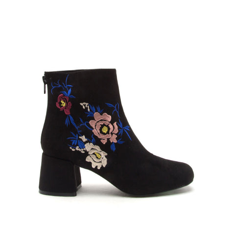 Zaya-03X Black Embroidered Bootie