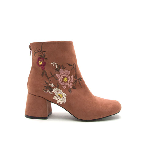 Zaya-03X Cinnamon Embroidered Bootie
