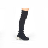Zaya-08X Black Embellished Heel Boot