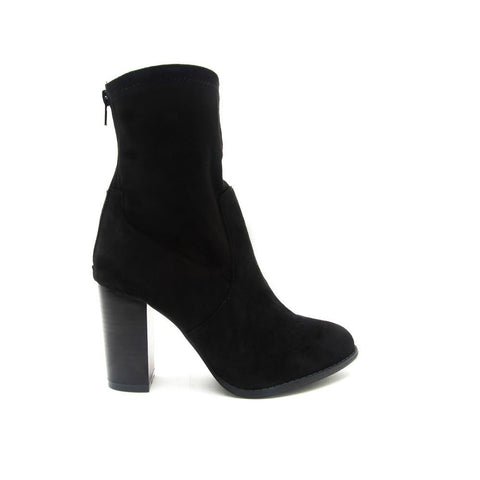 ZINC-02 Black Faux Suede Sock Boot